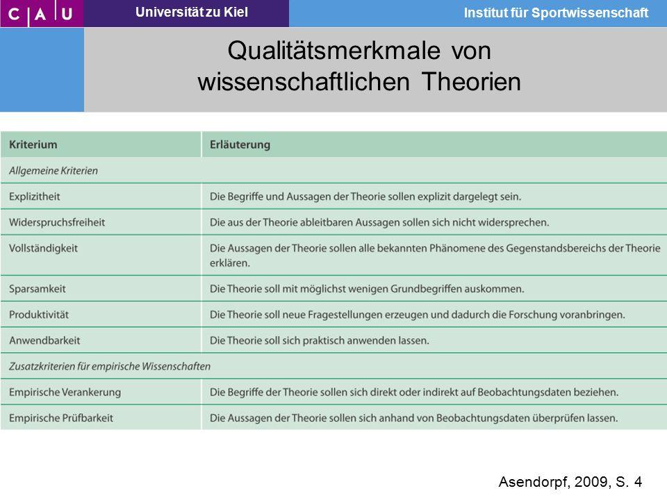 Universität zu Kiel Institut für Sportwissenschaft Qualitätsmerkmale von wissenschaftlichen Theorien Asendorpf, 2009, S. 4
