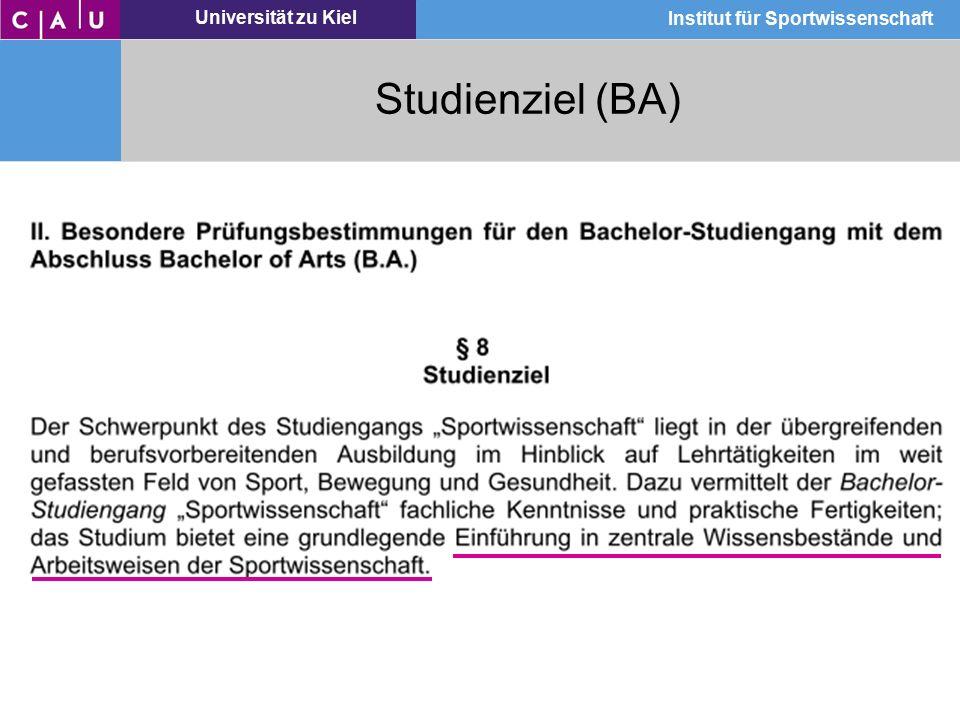 Universität zu Kiel Institut für Sportwissenschaft Studienziel (BA)