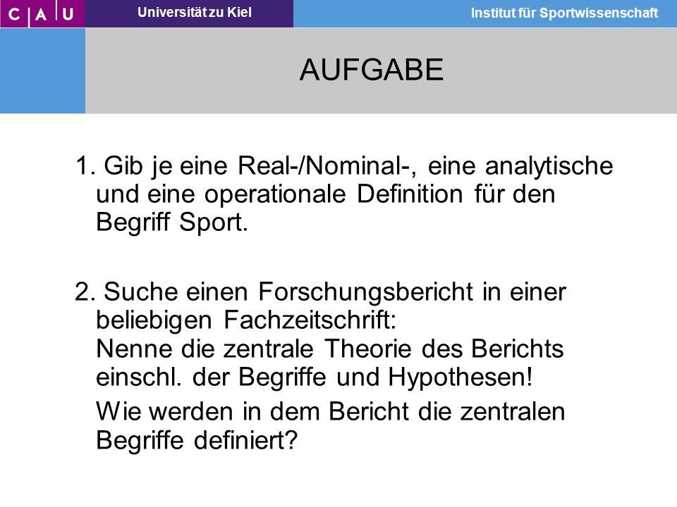 Universität zu Kiel Institut für Sportwissenschaft AUFGABE 1. Gib je eine Real-/Nominal-, eine analytische und eine operationale Definition für den Be