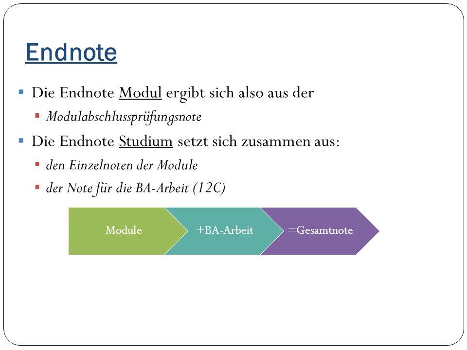 Endnote  Die Endnote Modul ergibt sich also aus der  Modulabschlussprüfungsnote  Die Endnote Studium setzt sich zusammen aus:  den Einzelnoten der