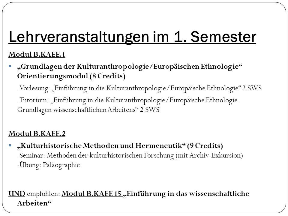 """Lehrveranstaltungen im 1. Semester Modul B.KAEE.1  """"Grundlagen der Kulturanthropologie/Europäischen Ethnologie"""" Orientierungsmodul (8 Credits) -Vorle"""