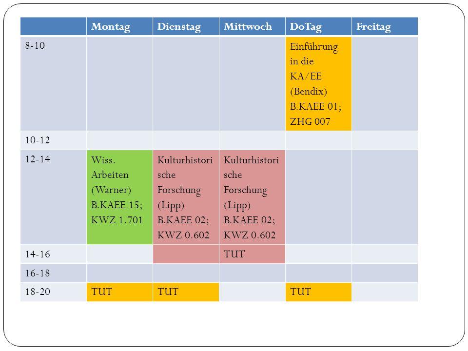 MontagDienstagMittwochDoTagFreitag 8-10 Einführung in die KA/EE (Bendix) B.KAEE 01; ZHG 007 10-12 12-14 Wiss. Arbeiten (Warner) B.KAEE 15; KWZ 1.701 K