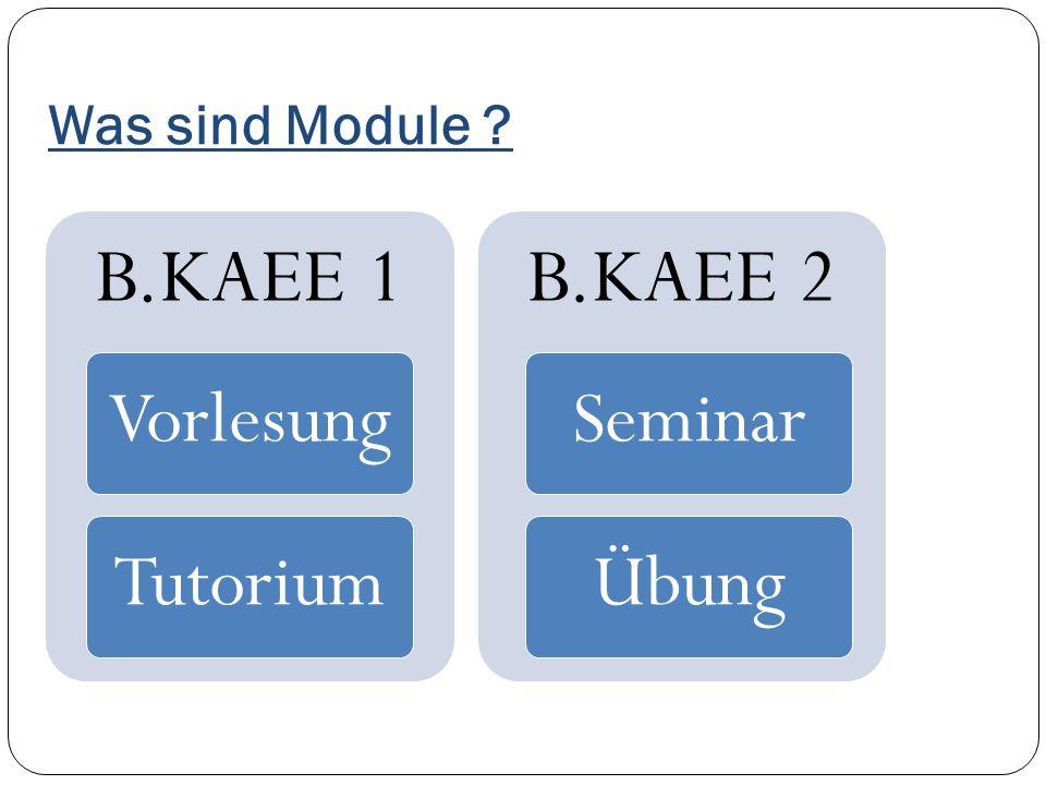 Was sind Module ? B.KAEE 1 VorlesungTutorium B.KAEE 2 SeminarÜbung