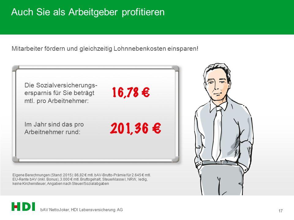 17 bAV NettoJoker, HDI Lebensversicherung AG Auch Sie als Arbeitgeber profitieren Die Sozialversicherungs- ersparnis für Sie beträgt mtl. pro Arbeitne