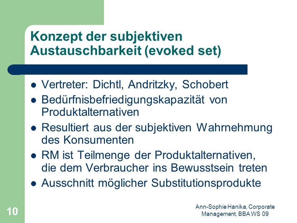 Ann-Sophie Hanika, Corporate Management, BBA WS 09 10 Konzept der subjektiven Austauschbarkeit (evoked set) Vertreter: Dichtl, Andritzky, Schobert Bed