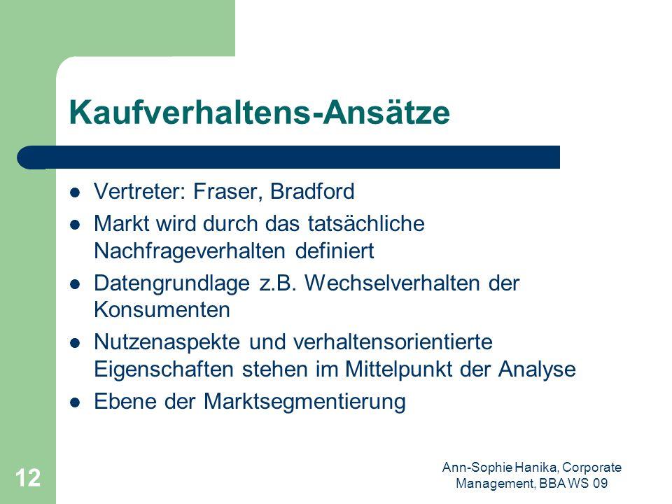 Ann-Sophie Hanika, Corporate Management, BBA WS 09 12 Kaufverhaltens-Ansätze Vertreter: Fraser, Bradford Markt wird durch das tatsächliche Nachfrageve