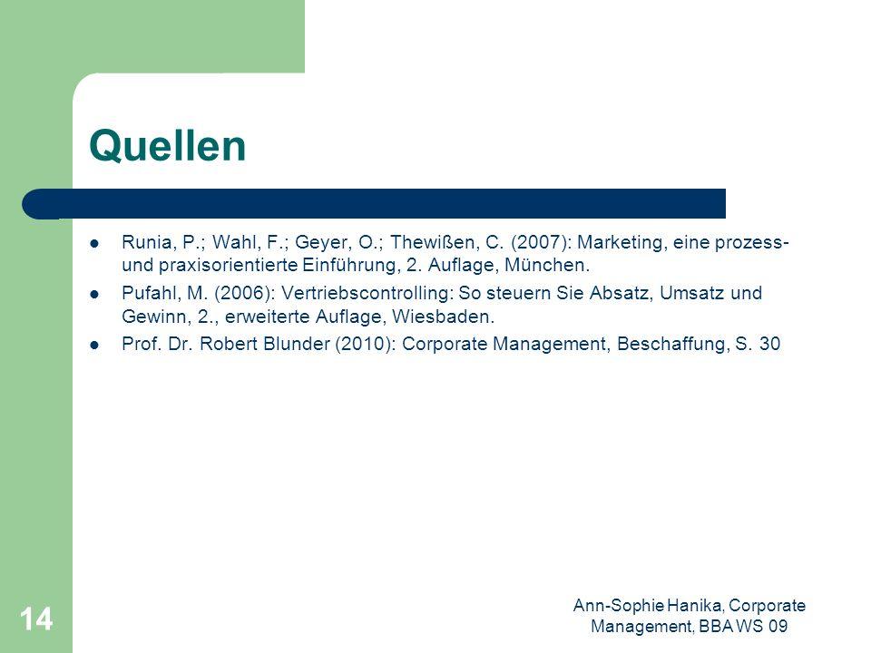 Ann-Sophie Hanika, Corporate Management, BBA WS 09 14 Quellen Runia, P.; Wahl, F.; Geyer, O.; Thewißen, C. (2007): Marketing, eine prozess- und praxis