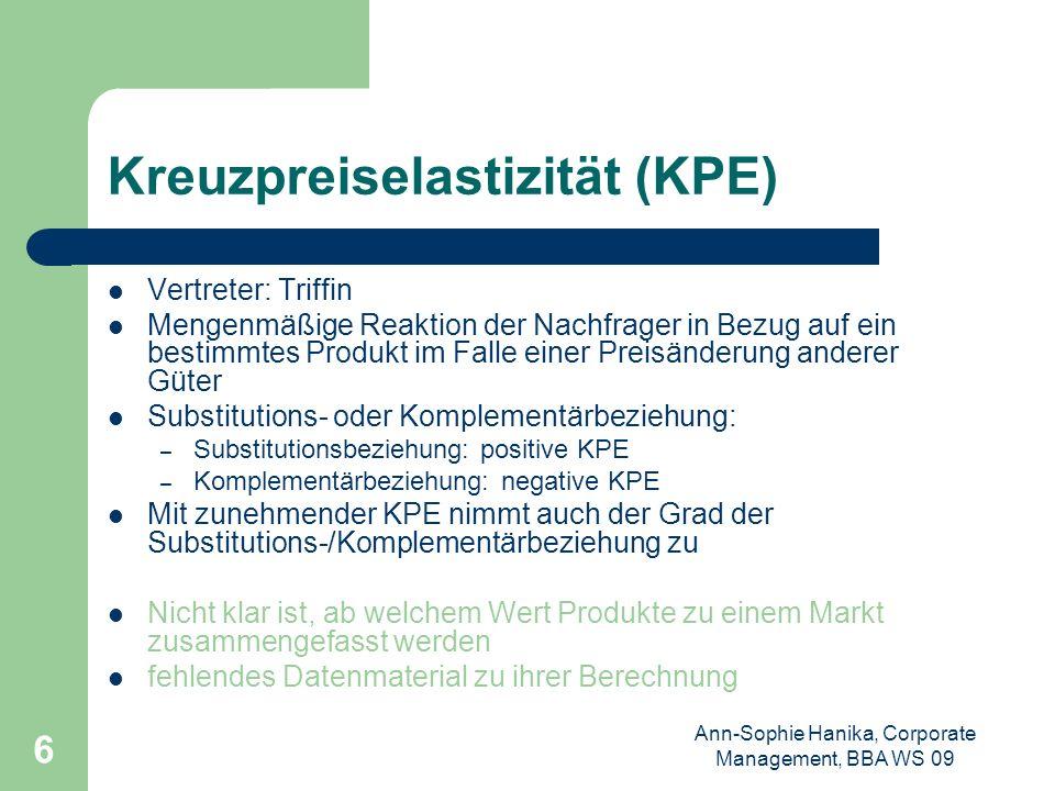 Ann-Sophie Hanika, Corporate Management, BBA WS 09 6 Kreuzpreiselastizität (KPE) Vertreter: Triffin Mengenmäßige Reaktion der Nachfrager in Bezug auf