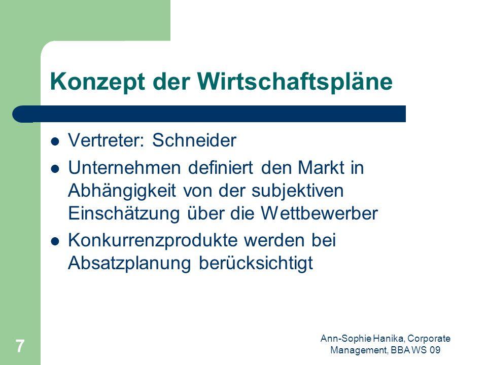 Ann-Sophie Hanika, Corporate Management, BBA WS 09 7 Konzept der Wirtschaftspläne Vertreter: Schneider Unternehmen definiert den Markt in Abhängigkeit