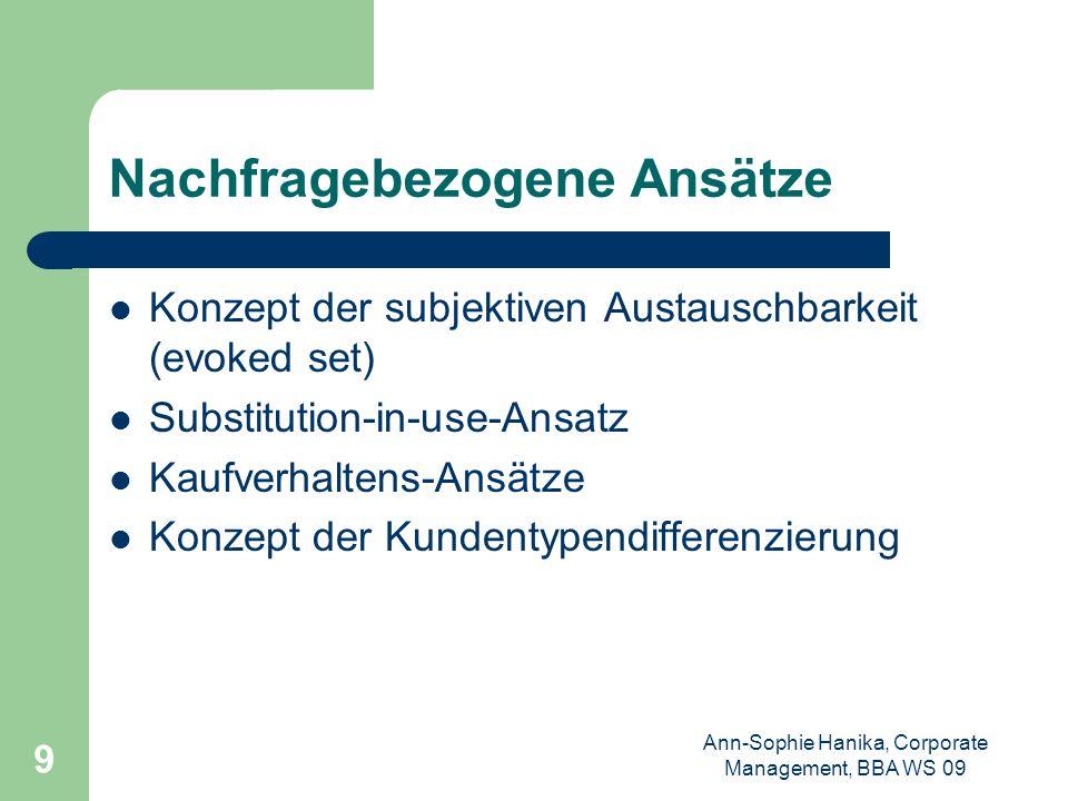 Ann-Sophie Hanika, Corporate Management, BBA WS 09 9 Nachfragebezogene Ansätze Konzept der subjektiven Austauschbarkeit (evoked set) Substitution-in-u