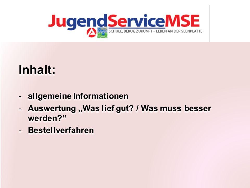 """Inhalt: -allgemeine Informationen -Auswertung """"Was lief gut."""