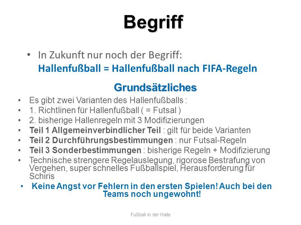 Begriff Fußball in der Halle In Zukunft nur noch der Begriff: Hallenfußball = Hallenfußball nach FIFA-Regeln Grundsätzliches Es gibt zwei Varianten de