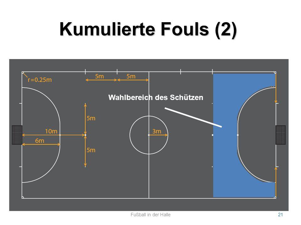 Kumulierte Fouls (2) Fußball in der Halle21 Statistische Erfolgsquote: ca. 50% Bei Foul hinter der 10-Meter Marke  Freistoß von 10-Meter-Marke Bei Fo