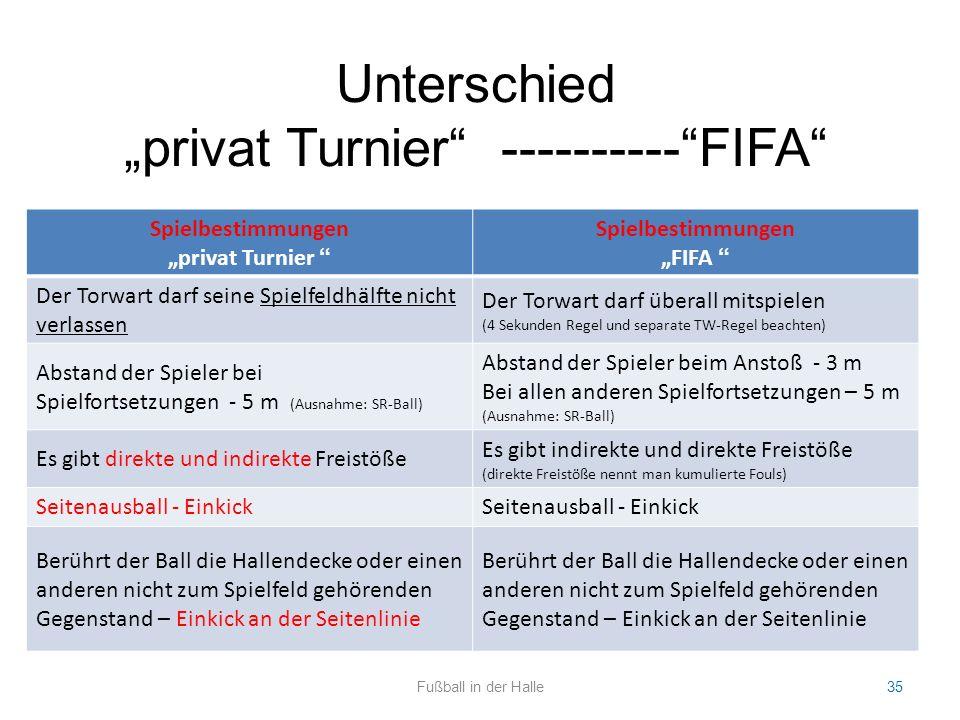 """Spielbestimmungen """"privat Turnier """" Spielbestimmungen """"FIFA """" Der Torwart darf seine Spielfeldhälfte nicht verlassen Der Torwart darf überall mitspiel"""
