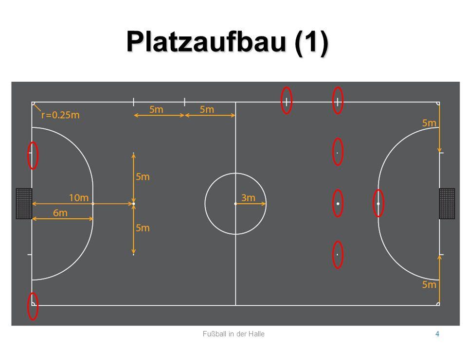 Platzaufbau (2) Fußball in der Halle5 Platz: Handballfeld Tore: Handballtore (3m x 2m) spezielle Futsal-Bälle, keine Hallenbälle Keine Bande, sondern rundherum Auslinien.