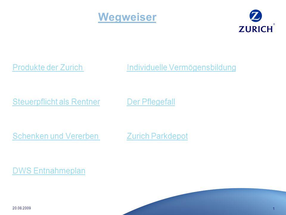 1 20.08.2009 Wegweiser Produkte der Zurich Individuelle Vermögensbildung Steuerpflicht als RentnerDer Pflegefall Schenken und Vererben Zurich Parkdepot DWS Entnahmeplan