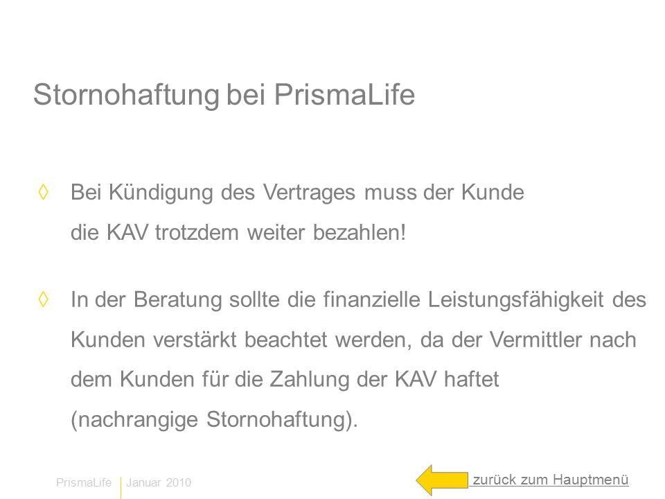 PrismaLife Januar 2010 Stornohaftung bei PrismaLife ◊ Bei Kündigung des Vertrages muss der Kunde die KAV trotzdem weiter bezahlen.