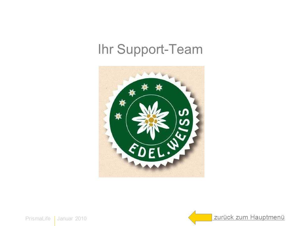 PrismaLife Januar 2010 Ihr Support-Team zurück zum Hauptmenü