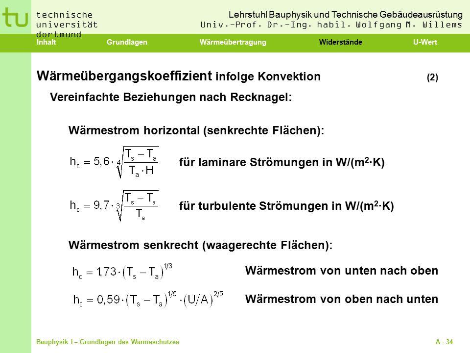 Lehrstuhl Bauphysik und Technische Gebäudeausrüstung Univ.-Prof. Dr.-Ing. habil. Wolfgang M. Willems technische universität dortmund Bauphysik I – Gru