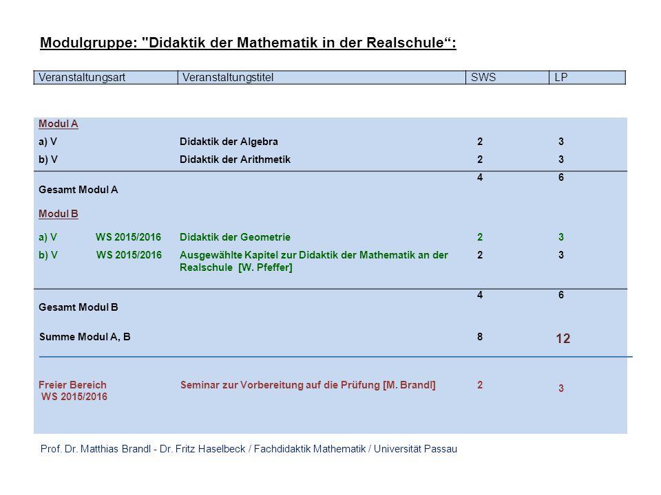 VeranstaltungsartVeranstaltungstitelSWSLP Modul A a) VDidaktik der Algebra 2 3 b) VDidaktik der Arithmetik 2 3 Gesamt Modul A 4 6 Modul B a) V WS 2015/2016Didaktik der Geometrie 2 3 b) V WS 2015/2016Ausgewählte Kapitel zur Didaktik der Mathematik an der Realschule [W.
