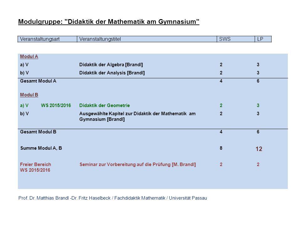 VeranstaltungsartVeranstaltungstitelSWSLP Modul A a) VDidaktik der Algebra [Brandl] 2 3 b) VDidaktik der Analysis [Brandl] 2 3 Gesamt Modul A 4 6 Modul B a) V WS 2015/2016Didaktik der Geometrie 2 3 b) VAusgewählte Kapitel zur Didaktik der Mathematik am Gymnasium [Brandl] 2 3 Gesamt Modul B 4 6 Summe Modul A, B 8 12 Freier Bereich WS 2015/2016 Seminar zur Vorbereitung auf die Prüfung [M.