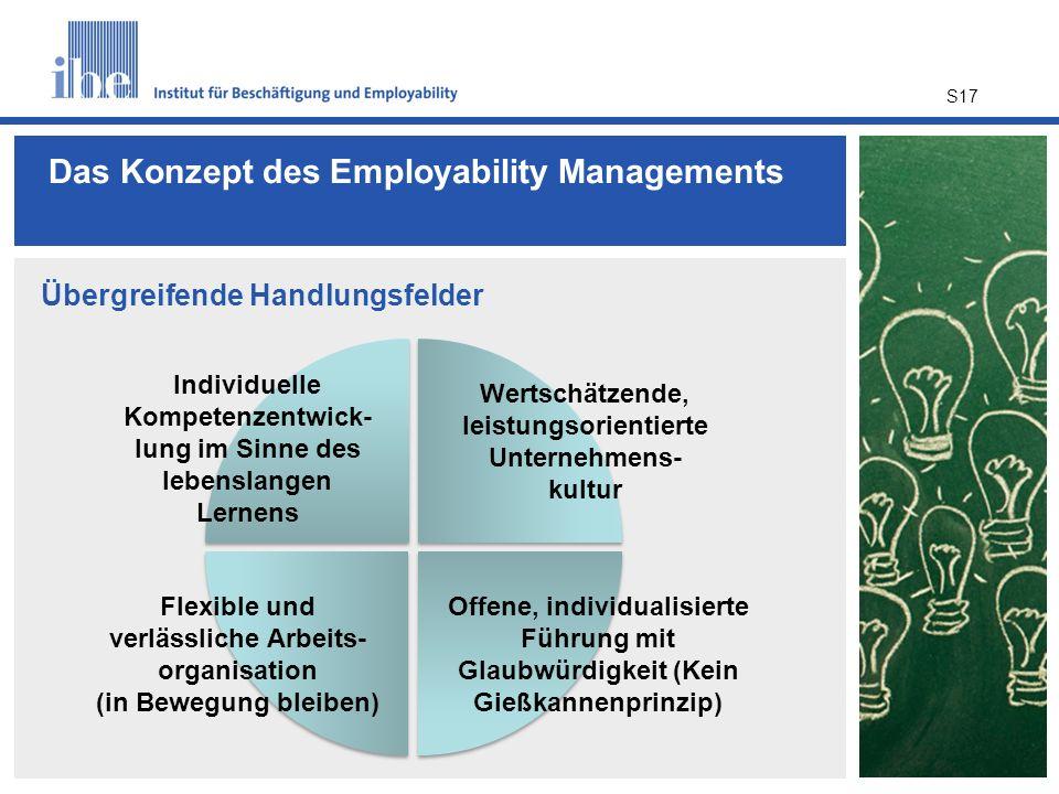 Das Konzept des Employability Managements S17 Übergreifende Handlungsfelder Individuelle Kompetenzentwick- lung im Sinne des lebenslangen Lernens Wert