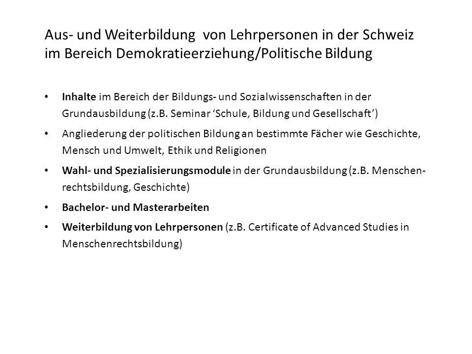 Inhalte im Bereich der Bildungs- und Sozialwissenschaften in der Grundausbildung (z.B.