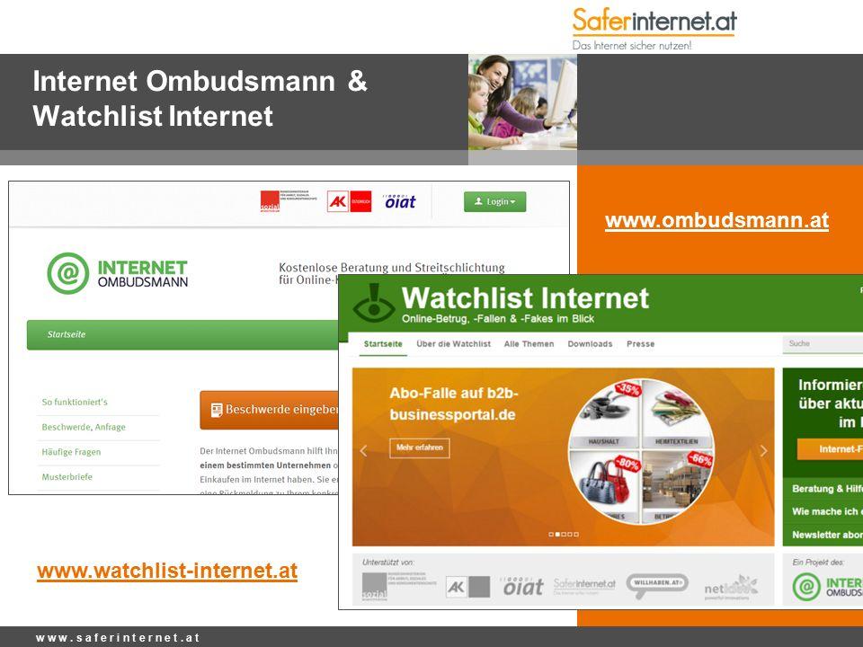 Internet Ombudsmann & Watchlist Internet w w w. s a f e r i n t e r n e t.
