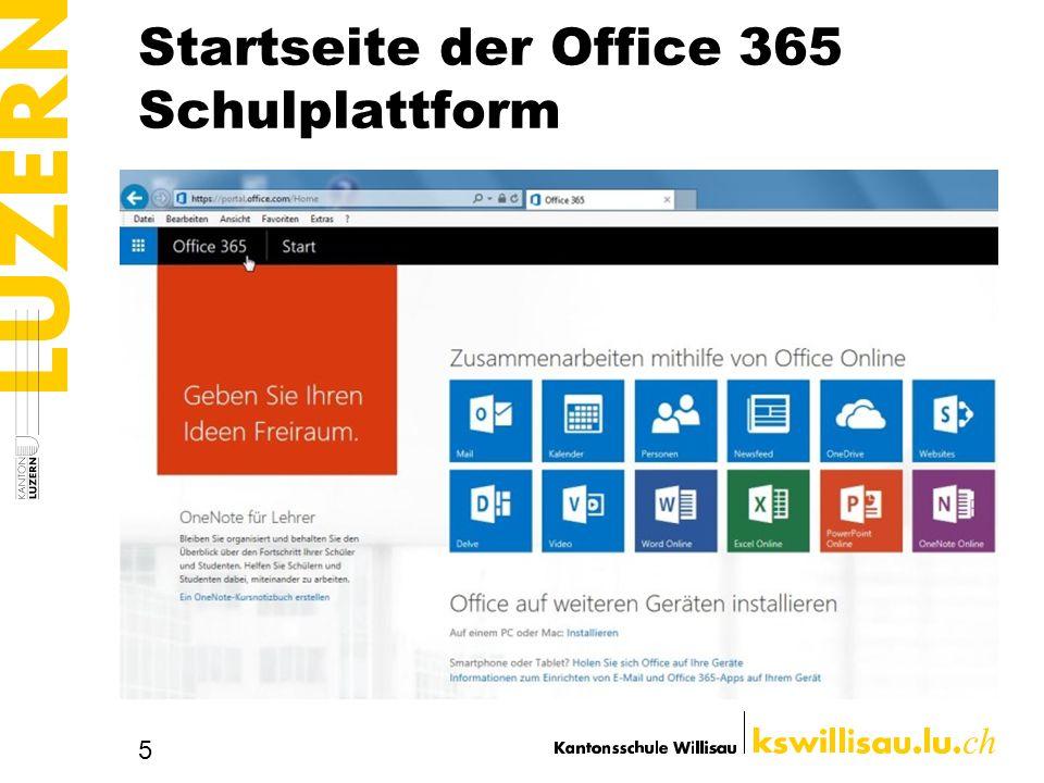 Startseite der Office 365 Schulplattform 5