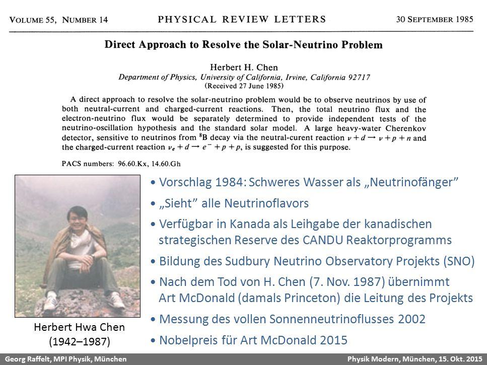 Georg Raffelt, MPI Physik, München Physik Modern, München, 15. Okt. 2015 SNO Proposal Herbert Hwa Chen (1942–1987) Vorschlag 1984: Schweres Wasser als