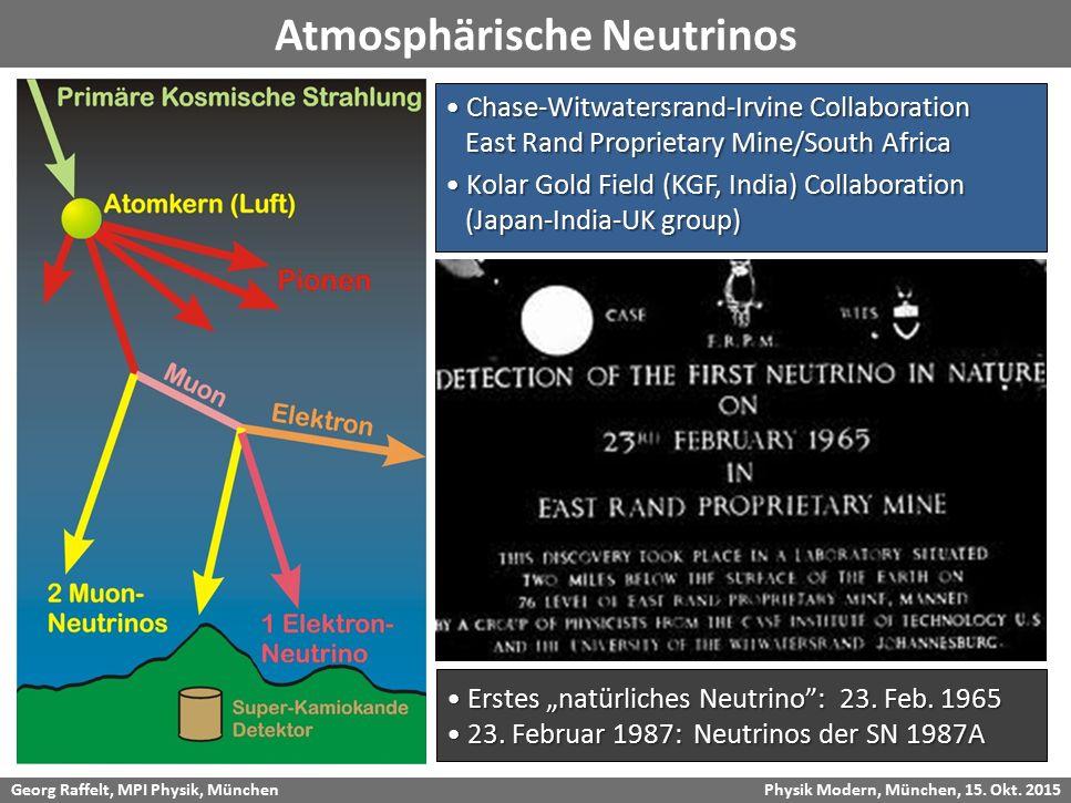 """Georg Raffelt, MPI Physik, München Physik Modern, München, 15. Okt. 2015 Atmosphärische Neutrinos Erstes """"natürliches Neutrino"""": 23. Feb. 1965 Erstes"""