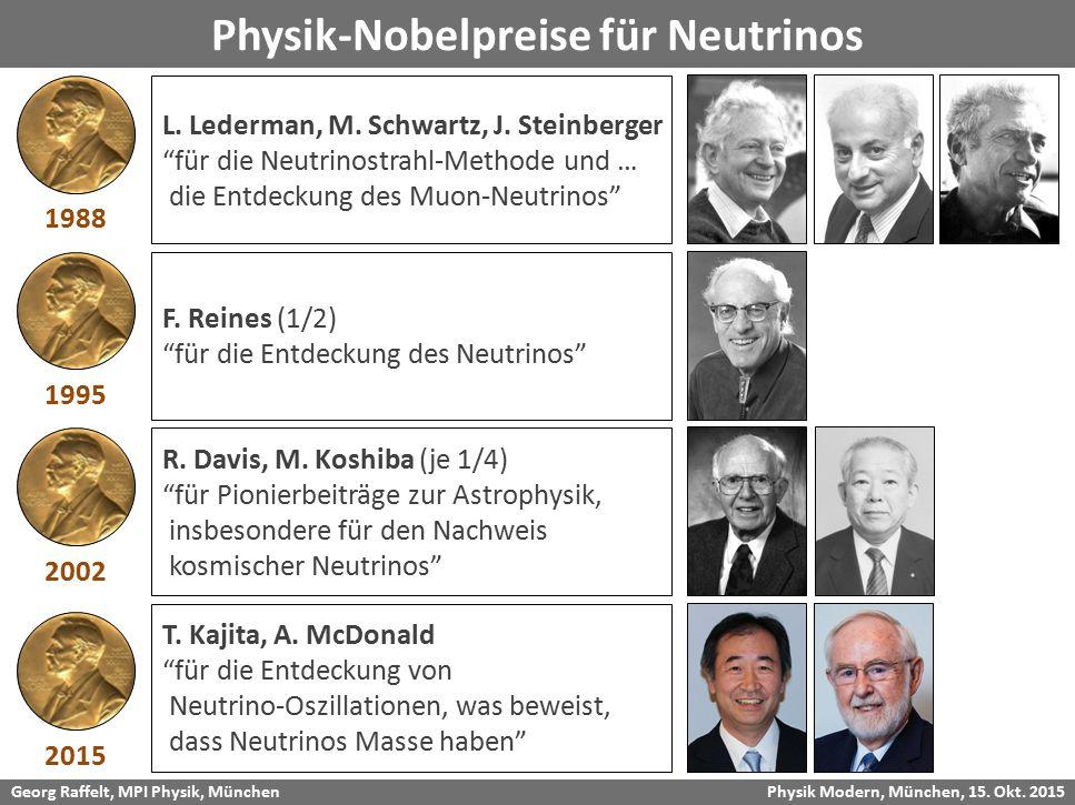 "Georg Raffelt, MPI Physik, München Physik Modern, München, 15. Okt. 2015 Physik-Nobelpreise für Neutrinos L. Lederman, M. Schwartz, J. Steinberger ""fü"