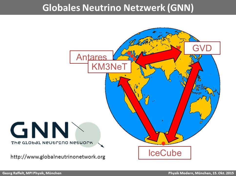 Georg Raffelt, MPI Physik, München Physik Modern, München, 15. Okt. 2015 Globales Neutrino Netzwerk (GNN) GVD Antares KM3NeT http://www.globalneutrino