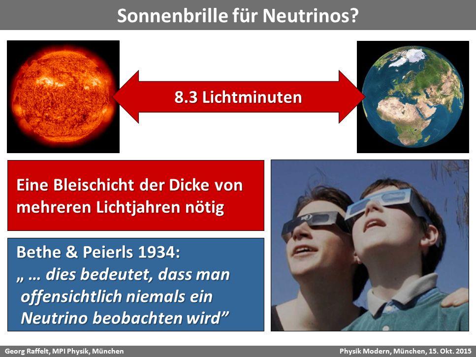 Georg Raffelt, MPI Physik, München Physik Modern, München, 15. Okt. 2015 Sonnenbrille für Neutrinos? 8.3 Lichtminuten Eine Bleischicht der Dicke von E