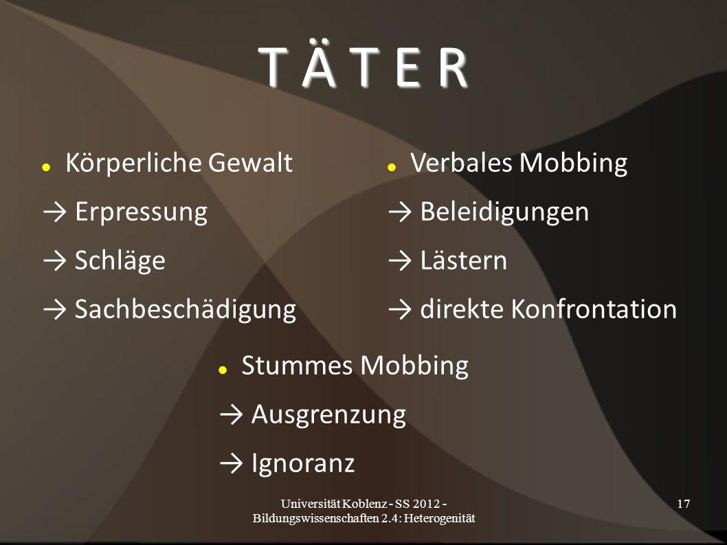 Universität Koblenz - SS 2012 - Bildungswissenschaften 2.4: Heterogenität 17 T Ä T E R Körperliche Gewalt → Erpressung → Schläge → Sachbeschädigung Ve