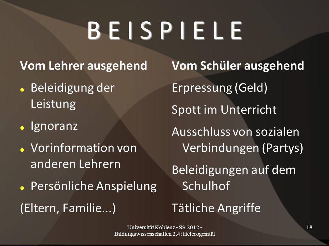 Universität Koblenz - SS 2012 - Bildungswissenschaften 2.4: Heterogenität 18 B E I S P I E L E Vom Lehrer ausgehend Beleidigung der Leistung Ignoranz