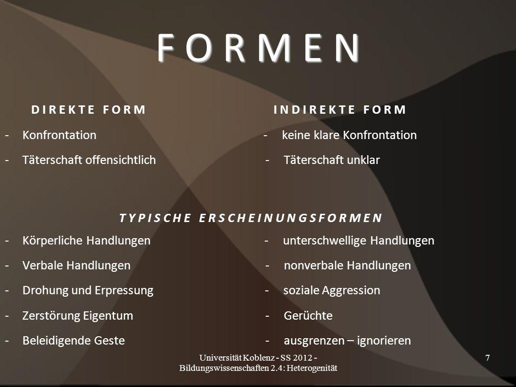 Universität Koblenz - SS 2012 - Bildungswissenschaften 2.4: Heterogenität 7 F O R M E N D I R E K T E F O R M I N D I R E K T E F O R M -Konfrontation