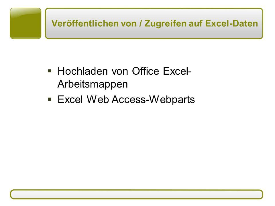 Veröffentlichen von / Zugreifen auf Excel-Daten  Hochladen von Office Excel- Arbeitsmappen  Excel Web Access-Webparts