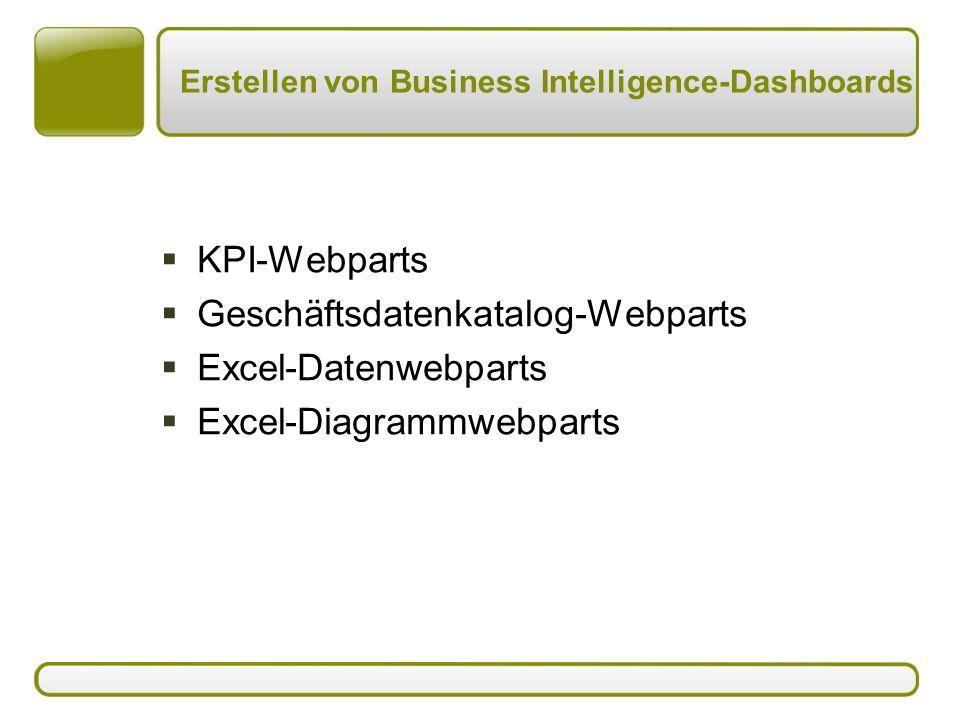Erstellen von Business Intelligence-Dashboards  KPI-Webparts  Geschäftsdatenkatalog-Webparts  Excel-Datenwebparts  Excel-Diagrammwebparts
