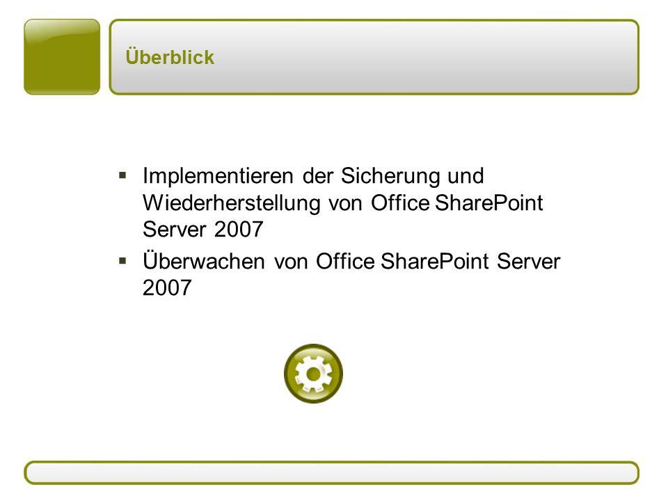Überblick  Implementieren der Sicherung und Wiederherstellung von Office SharePoint Server 2007  Überwachen von Office SharePoint Server 2007