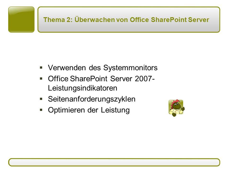 Thema 2: Überwachen von Office SharePoint Server  Verwenden des Systemmonitors  Office SharePoint Server 2007- Leistungsindikatoren  Seitenanforderungszyklen  Optimieren der Leistung