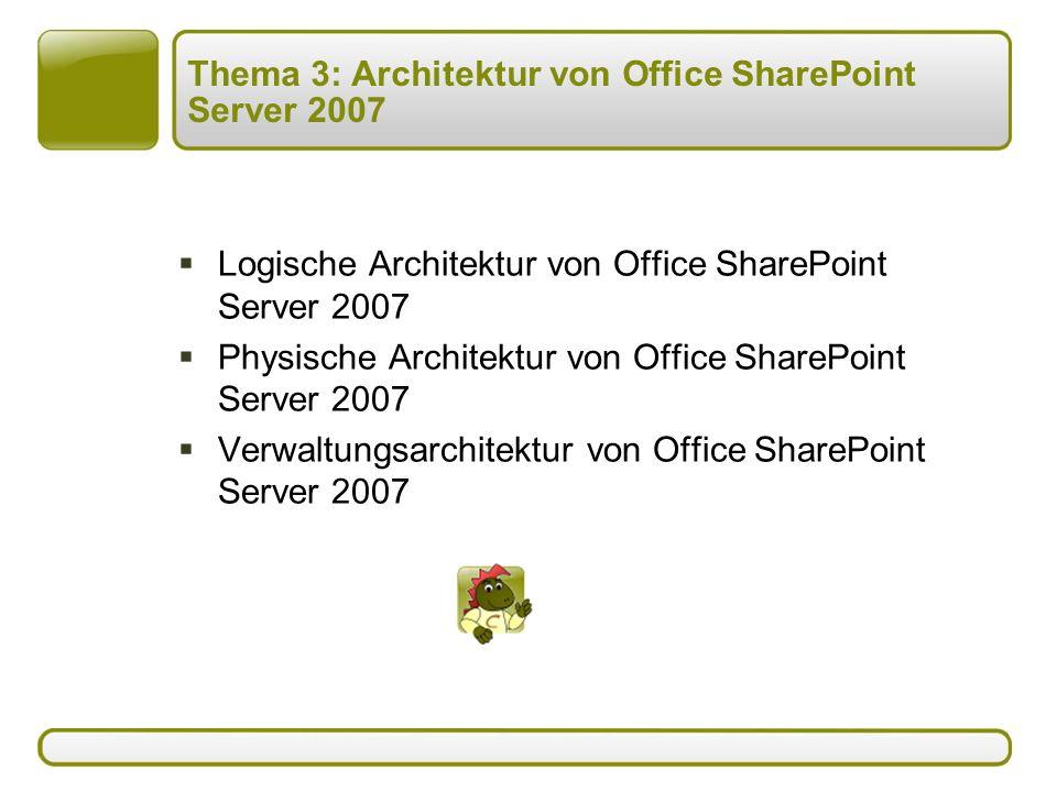 Thema 3: Architektur von Office SharePoint Server 2007  Logische Architektur von Office SharePoint Server 2007  Physische Architektur von Office SharePoint Server 2007  Verwaltungsarchitektur von Office SharePoint Server 2007