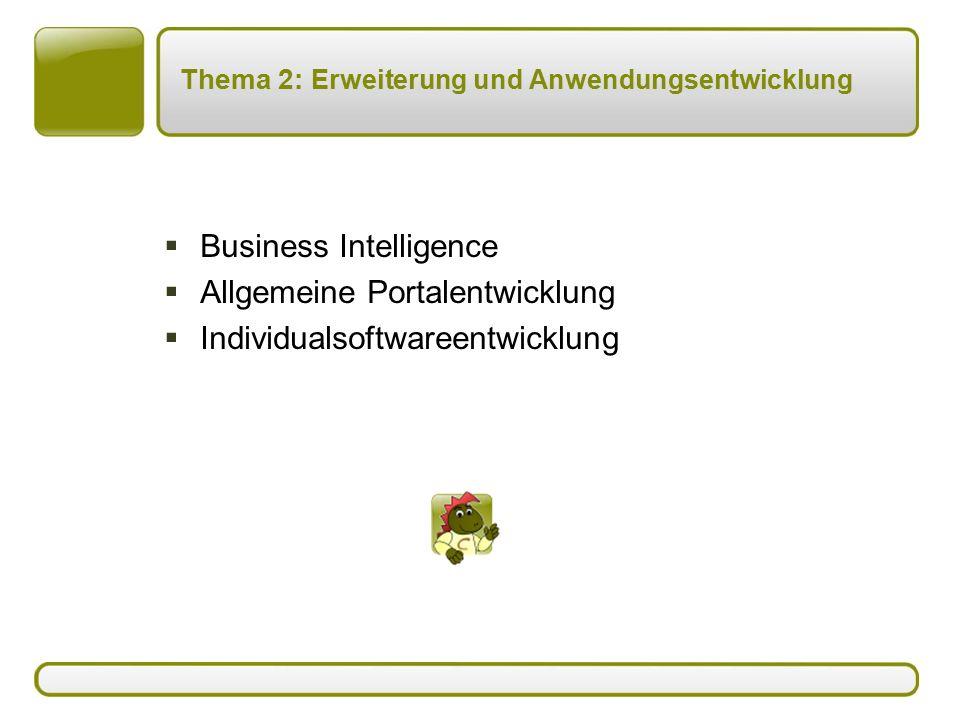 Thema 2: Erweiterung und Anwendungsentwicklung  Business Intelligence  Allgemeine Portalentwicklung  Individualsoftwareentwicklung