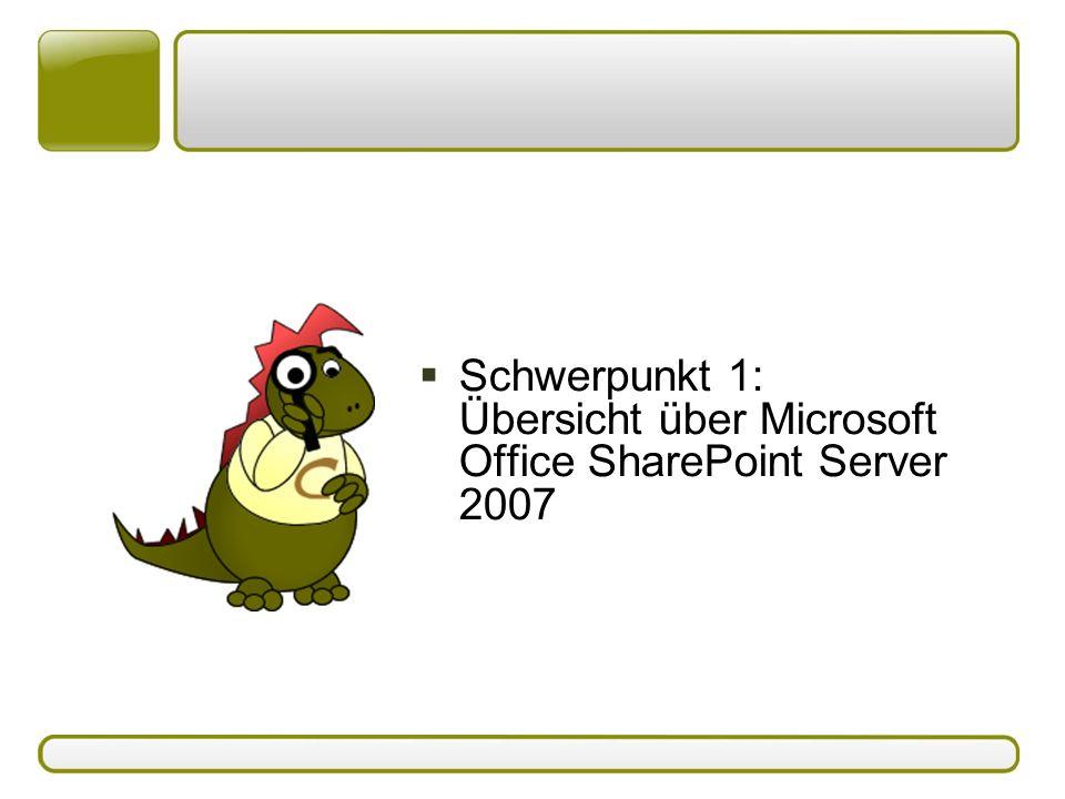  Schwerpunkt 1: Übersicht über Microsoft Office SharePoint Server 2007