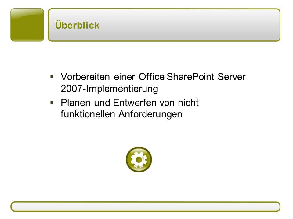 Überblick  Vorbereiten einer Office SharePoint Server 2007-Implementierung  Planen und Entwerfen von nicht funktionellen Anforderungen