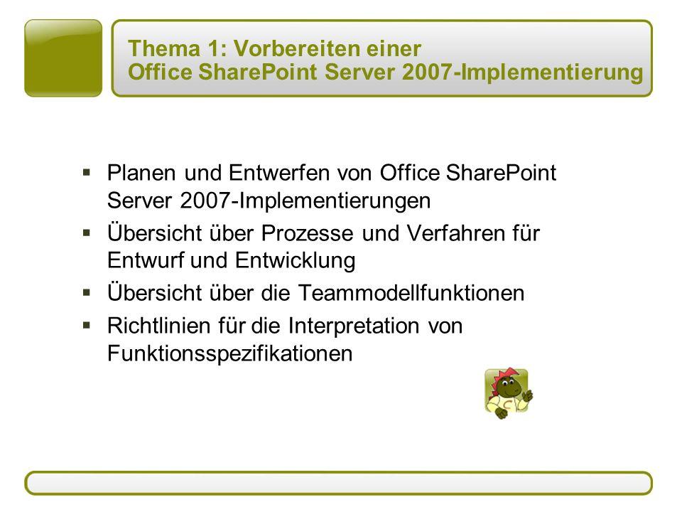 Thema 1: Vorbereiten einer Office SharePoint Server 2007-Implementierung  Planen und Entwerfen von Office SharePoint Server 2007-Implementierungen  Übersicht über Prozesse und Verfahren für Entwurf und Entwicklung  Übersicht über die Teammodellfunktionen  Richtlinien für die Interpretation von Funktionsspezifikationen