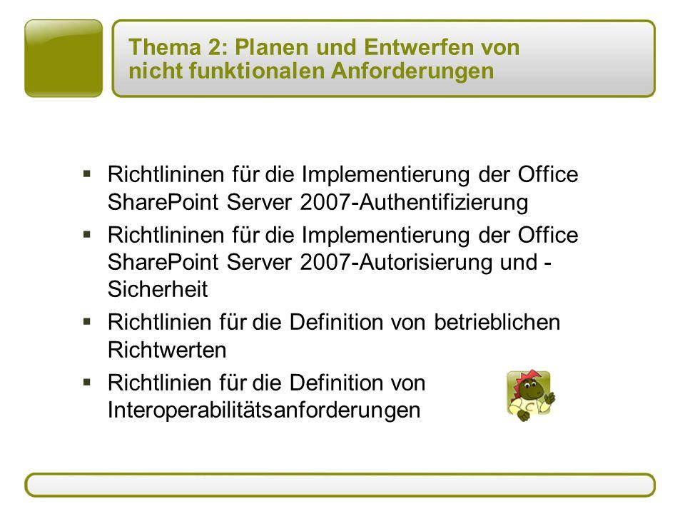 Thema 2: Planen und Entwerfen von nicht funktionalen Anforderungen  Richtlininen für die Implementierung der Office SharePoint Server 2007-Authentifizierung  Richtlininen für die Implementierung der Office SharePoint Server 2007-Autorisierung und - Sicherheit  Richtlinien für die Definition von betrieblichen Richtwerten  Richtlinien für die Definition von Interoperabilitätsanforderungen
