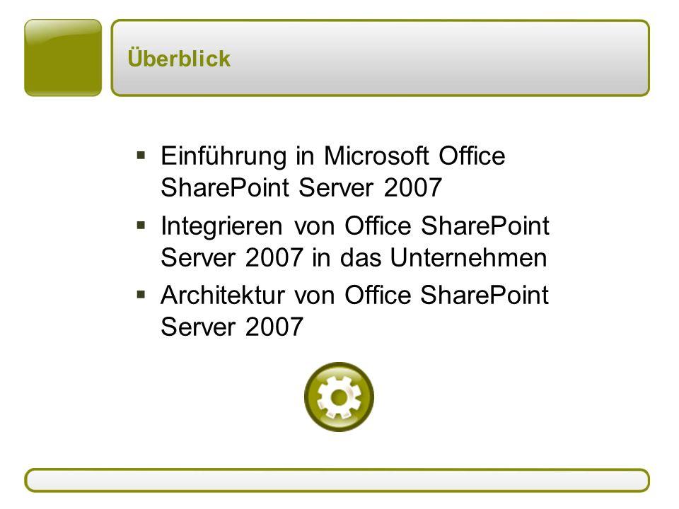 Überblick  Einführung in Microsoft Office SharePoint Server 2007  Integrieren von Office SharePoint Server 2007 in das Unternehmen  Architektur von Office SharePoint Server 2007