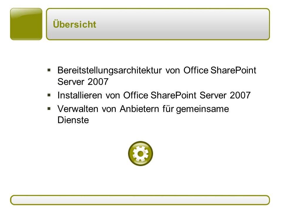 Übersicht  Bereitstellungsarchitektur von Office SharePoint Server 2007  Installieren von Office SharePoint Server 2007  Verwalten von Anbietern für gemeinsame Dienste
