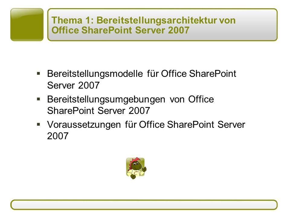 Thema 1: Bereitstellungsarchitektur von Office SharePoint Server 2007  Bereitstellungsmodelle für Office SharePoint Server 2007  Bereitstellungsumgebungen von Office SharePoint Server 2007  Voraussetzungen für Office SharePoint Server 2007
